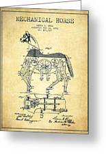 Mechanical Horse Patent Drawing From 1893 - Vintage Greeting Card by Aged Pixel