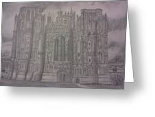 Medieval Cathedral Greeting Card by Christy Saunders Church