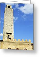 Medieval Tower In San Gimignano Greeting Card by Sami Sarkis