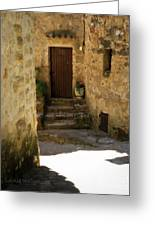 Medieval Village Street Greeting Card by Lainie Wrightson