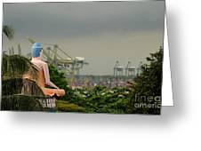 Meditating Buddha Views Container Seaport  Greeting Card by Imran Ahmed