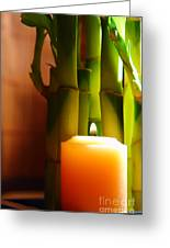 Meditation Candle And Bamboo Greeting Card by Olivier Le Queinec