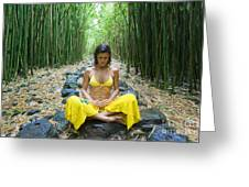 Meditation in Bamboo Forest Greeting Card by M Swiet Productions
