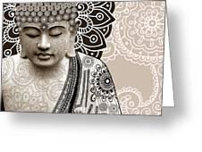 Meditation Mehndi - Paisley Buddha Artwork - copyrighted Greeting Card by Christopher Beikmann