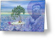 Meditation On Buddha Blue Greeting Card by Dominique Amendola