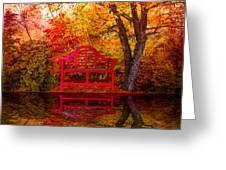 Meet Me At The Pond Greeting Card by Debra and Dave Vanderlaan
