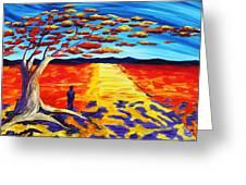 Meet Me Under The Flamboyant Tree Greeting Card by Angel Reyes