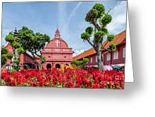 Melaka Red Square Greeting Card by Adrian Evans