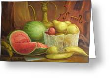 Melody With Fruits Greeting Card by Michael Chesnakov