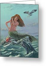 Mermaid On Rock Greeting Card by Martin Davey