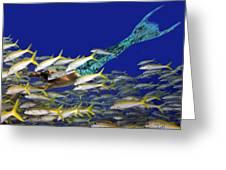 Merman Greeting Card by Paula Porterfield-Izzo