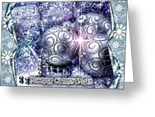 Merry Christmas Blue Greeting Card by Mo T
