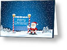 Merry Christmas Sign Santa Claus Winter Landscape Greeting Card by Frank Ramspott