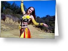 Metal Gypsy Fire Sofia Belly Dance Performance Greeting Card by Sofia Gothic Queen of Hell