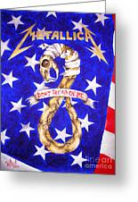 Metallica Logo And American Flag. Art By Sofia Metal Queen Greeting Card by Sofia Metal Queen