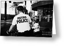 metro police bicycle cops in downtown Las Vegas Nevada USA Greeting Card by Joe Fox