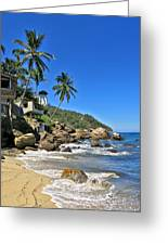 Mexican Beach Town Greeting Card by Douglas Simonson