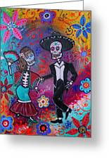 Mexican Couple Bailar Dancers Mariachi Greeting Card by Pristine Cartera Turkus