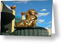 Mgm Lion In Las Vegas Greeting Card by John Malone