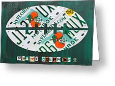 Miami Dolphins Football Recycled License Plate Art Greeting Card by Design Turnpike