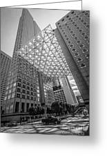 Miami Downtown Shadow Play - Black And White Greeting Card by Ian Monk