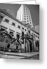 Miami Freedom Tower 1 - Miami - Florida - Black And White Greeting Card by Ian Monk