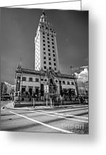 Miami Freedom Tower 4 - Miami - Florida - Black And White Greeting Card by Ian Monk