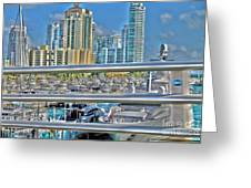 Miami Marina Greeting Card by Claudia Mottram