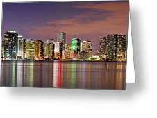 Miami Skyline At Dusk Sunset Panorama Greeting Card by Jon Holiday