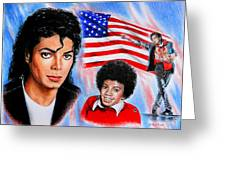 Michael Jackson American Legend Greeting Card by Andrew Read