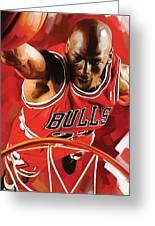 Michael Jordan Artwork 3 Greeting Card by Sheraz A