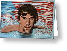 Michael Phelps Greeting Card by Paul Meijering