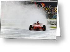 Michael Schumacher Rainmaster Greeting Card by Gary Doak