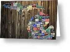 Michigan Counties State License Plate Map Greeting Card by Design Turnpike