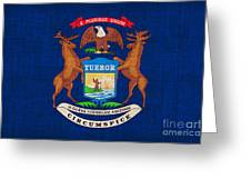 Michigan State Flag Greeting Card by Pixel Chimp