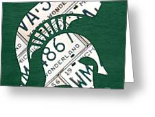 Michigan State Spartans Sports Retro Logo License Plate Fan Art Greeting Card by Design Turnpike