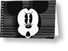 Mickey Mouse Disney Mug Shot Greeting Card by Tony Rubino