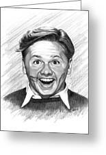 Mickey Rooney Greeting Card by Lou Ortiz