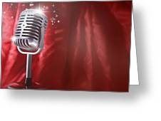 Microphone Greeting Card by Les Cunliffe