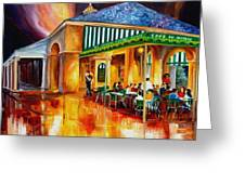 Midnight At The Cafe Du Monde Greeting Card by Diane Millsap