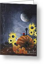 Midnight In The Pumpkin Patch By Shawna Erback Greeting Card by Shawna Erback