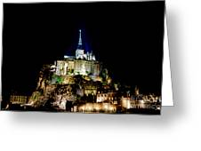 Midnight Mont Saint Michel Greeting Card by Olivier Le Queinec