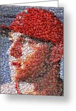 Mike Trout Bottle Cap Mosaic Greeting Card by Paul Van Scott