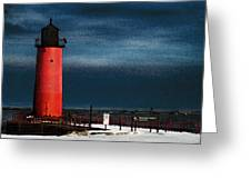 Milwaukee Pierhead Lighthouse Greeting Card by David Blank