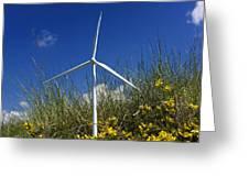Miniature Wind Turbine In Nature Greeting Card by Bernard Jaubert