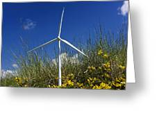 Miniature wind turbine in nature Greeting Card by BERNARD JAUBERT