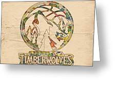 Minnesota Timberwolves Retro Poster Greeting Card by Florian Rodarte
