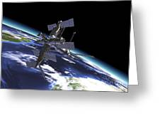 Mir Russian Space Station In Orbit Greeting Card by Leonello Calvetti
