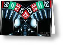 Mirrored Roulette Wheel Triptych Greeting Card by M and L Creations
