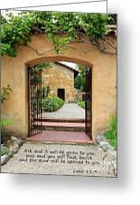 Mission Door With Scripture Greeting Card by Carol Groenen